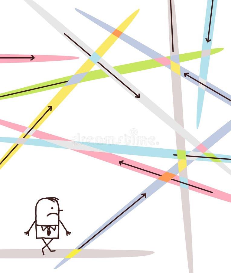 Tecknad filmaffärsman Lost i riktningar vektor illustrationer