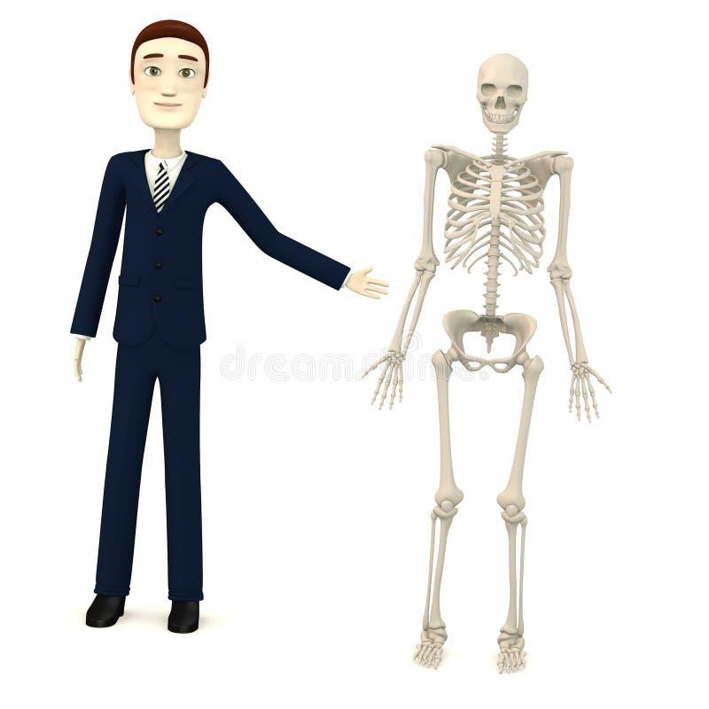 Tecknad filmaffärsman med det manliga skelettet stock illustrationer