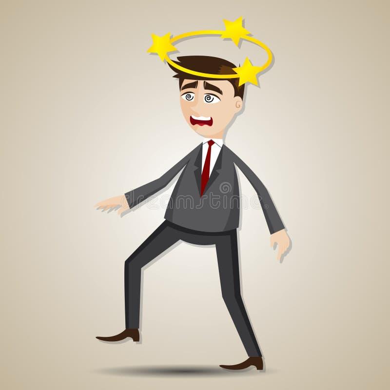 Tecknad filmaffärsman som är förvirrad med stjärnan på hans huvud stock illustrationer