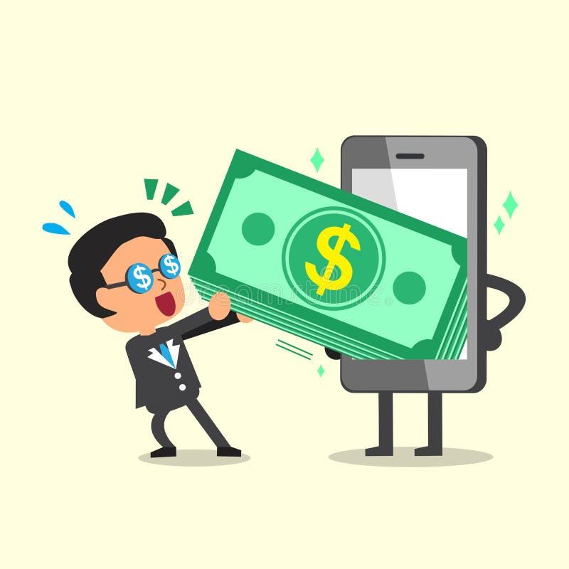 Tecknad filmaffärsman som drar pengarbunten från smartphonen vektor illustrationer