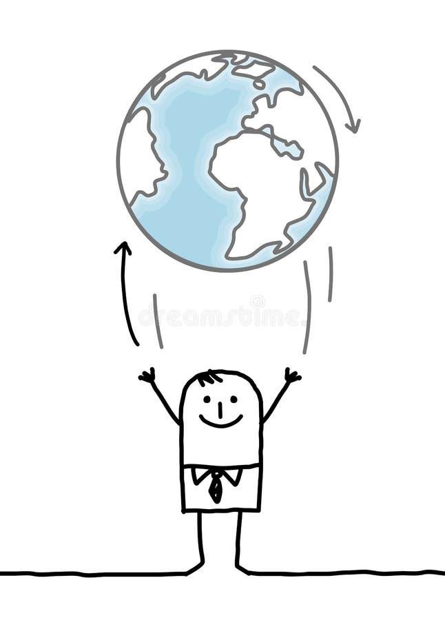 Tecknad filmaffärsman som upp kastar jorden royaltyfri illustrationer