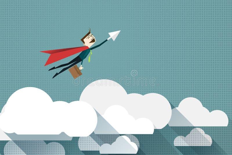 Tecknad filmaffärsman Superhero med en röd udde på molnet, vektorillustration stock illustrationer