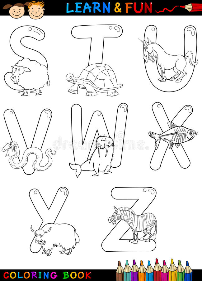Tecknad filmalfabet med djur för färgläggning stock illustrationer