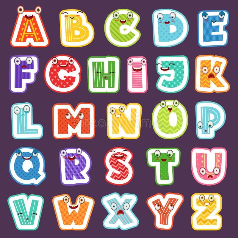 Tecknad filmalfabet med sinnesrörelser Kulört gulligt alfabet för vektor för tecken och för nummer för symboler för stilsortsteck royaltyfri illustrationer