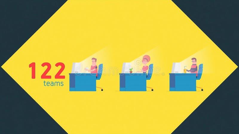 Tecknad filmanimering med informationen av striddeltagare, nummer av lag p? gul bakgrund programmering stock illustrationer