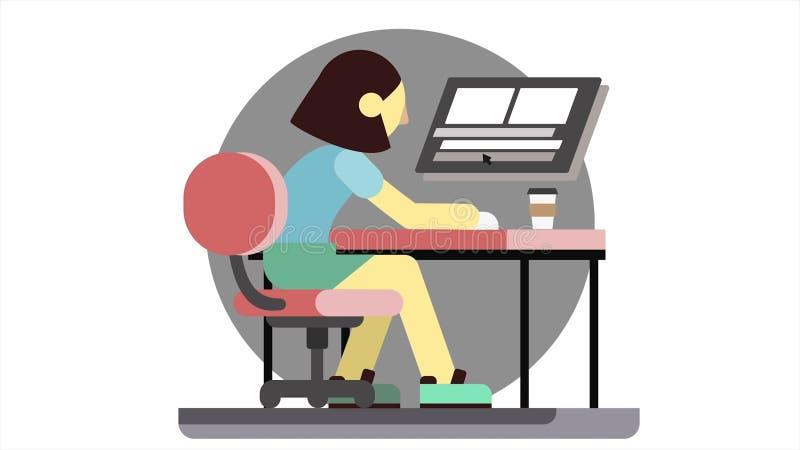 Tecknad filmanimeringen av en ilsken kvinna som sitter p? en dator, sm?ller i n?ven p? tabellen och drinkkaffe Stressad chefflick stock illustrationer