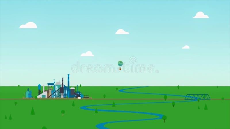 Tecknad filmanimeringlandskap med den blåa floden, den gröna ängen och en fabrik på bakgrund för molnig himmel Abstrakt varm luft stock illustrationer