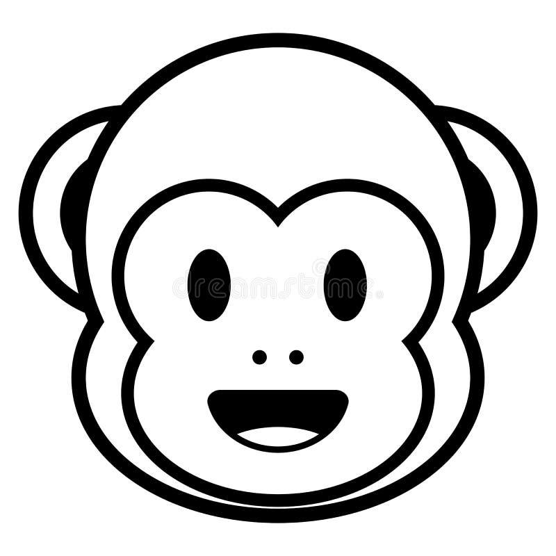Tecknad filmapa Emoji som isoleras på vit bakgrund stock illustrationer