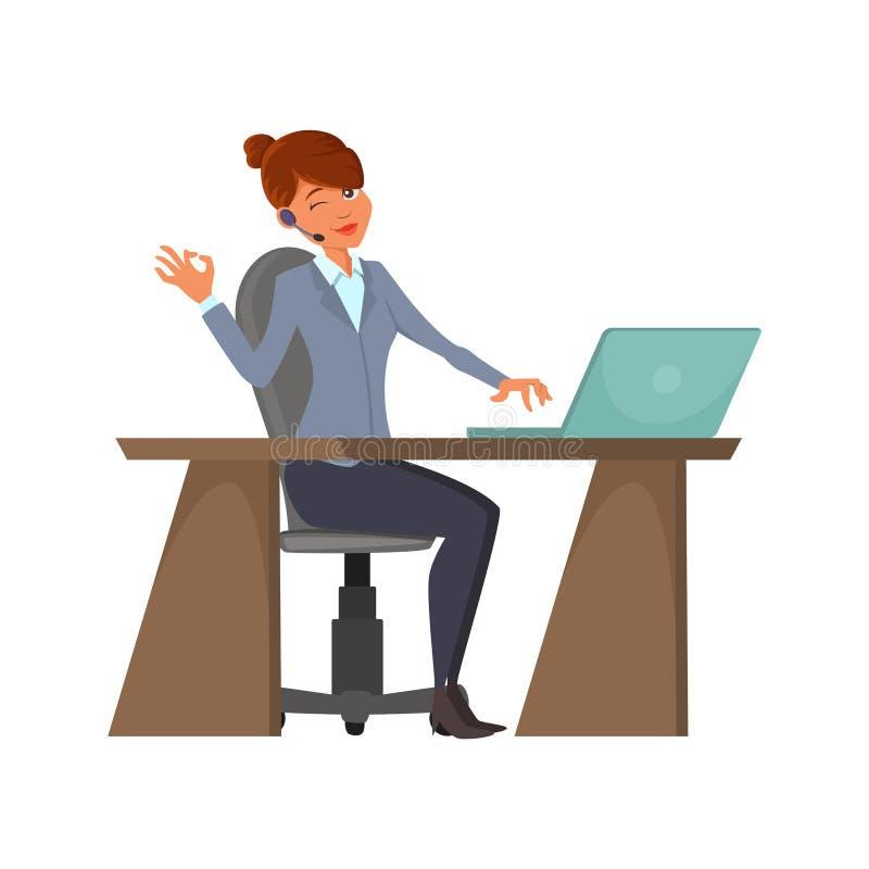 Tecknad filmappell-mitt operatör En gladlynt kvinnlig med en trådlös hörlurar med mikrofon sitter på arbetsplatsen En kvinna arbe royaltyfri illustrationer