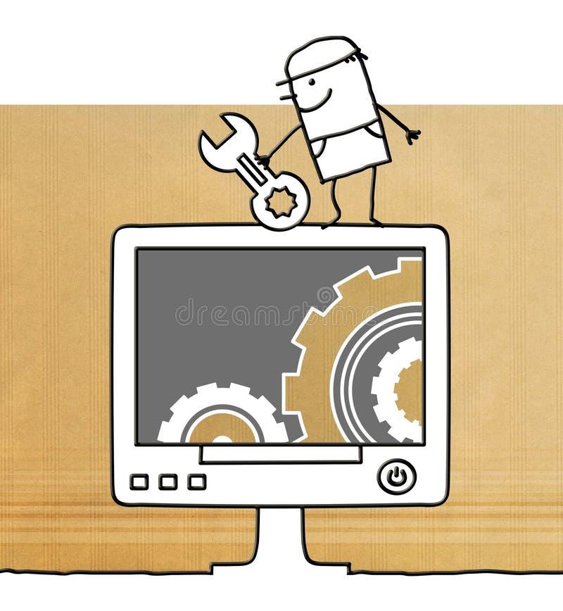Tecknad filmarbetare med datoren och kugghjul vektor illustrationer