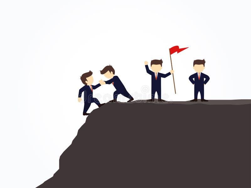 Tecknad filmarbetepysslingar som försöker att klättra upp berget som rymmer varje andra händer Vektorillustration för affärsdesig stock illustrationer