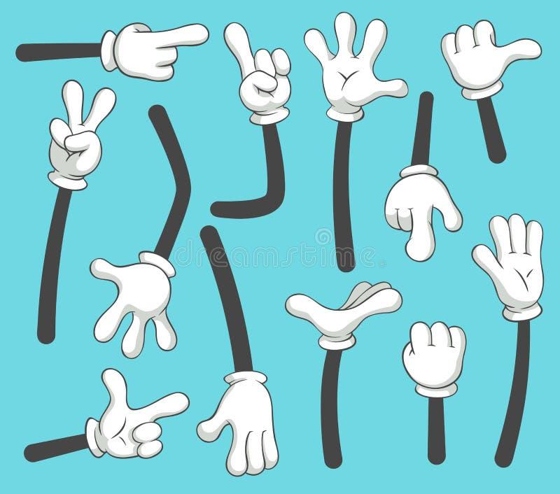 Tecknad filmarmar Klottra behandskade peka händer, olik mänsklig punktarm Uppsättning för tappningvektorillustration royaltyfri illustrationer