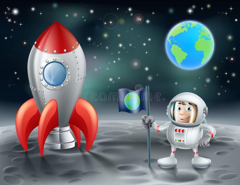 Tecknad filmastronaut och tappningutrymmeraket på månen royaltyfri illustrationer