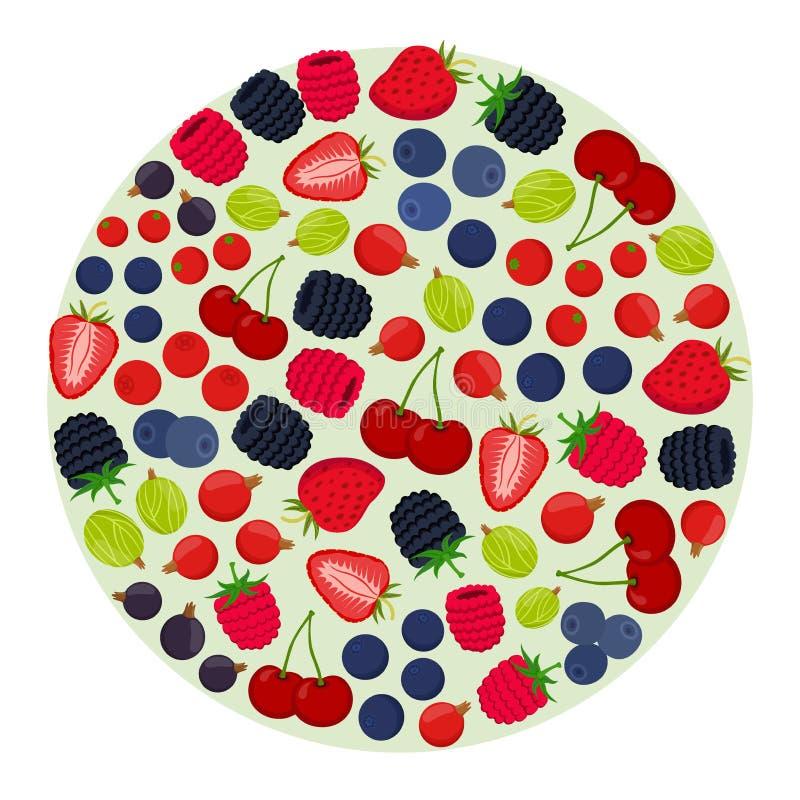 Tecknad filmbärmeny Hallon björnbär, krusbär, röd vinbär, svart vinbär stock illustrationer