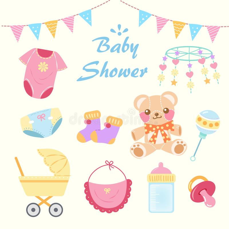 Tecknad filmbaby shower royaltyfri illustrationer