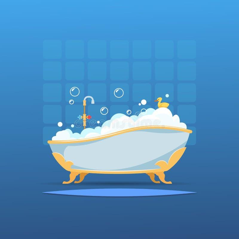 Tecknad filmbadkar Varmvatten för duschen för badrummet för badbubblaskum tvättar gullig plan inre anden Vektorbadrum med badet royaltyfri illustrationer