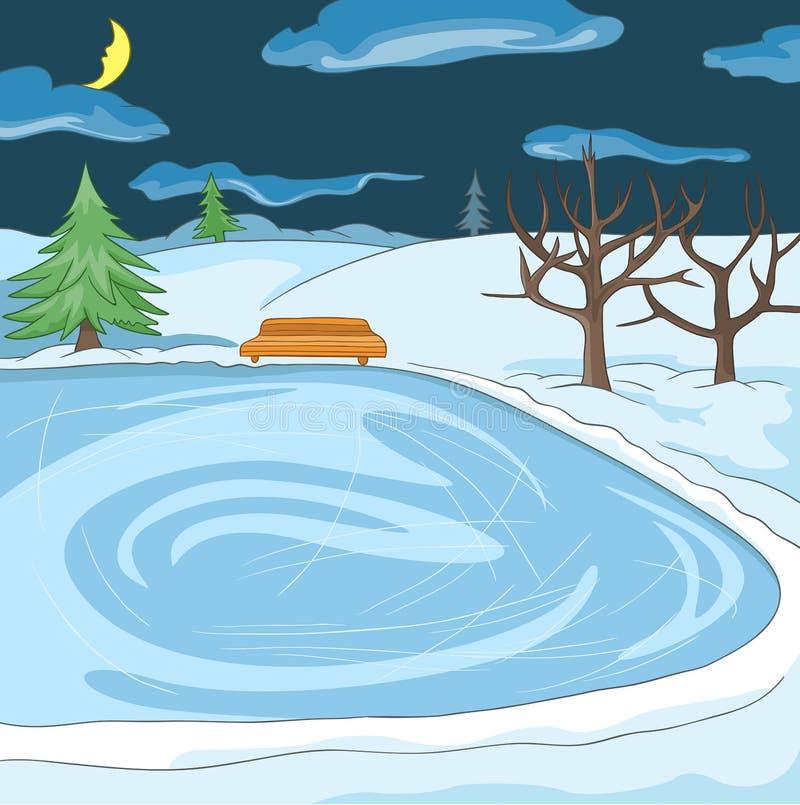 Tecknad filmbakgrund av den utomhus- åka skridskor isbanan royaltyfri illustrationer