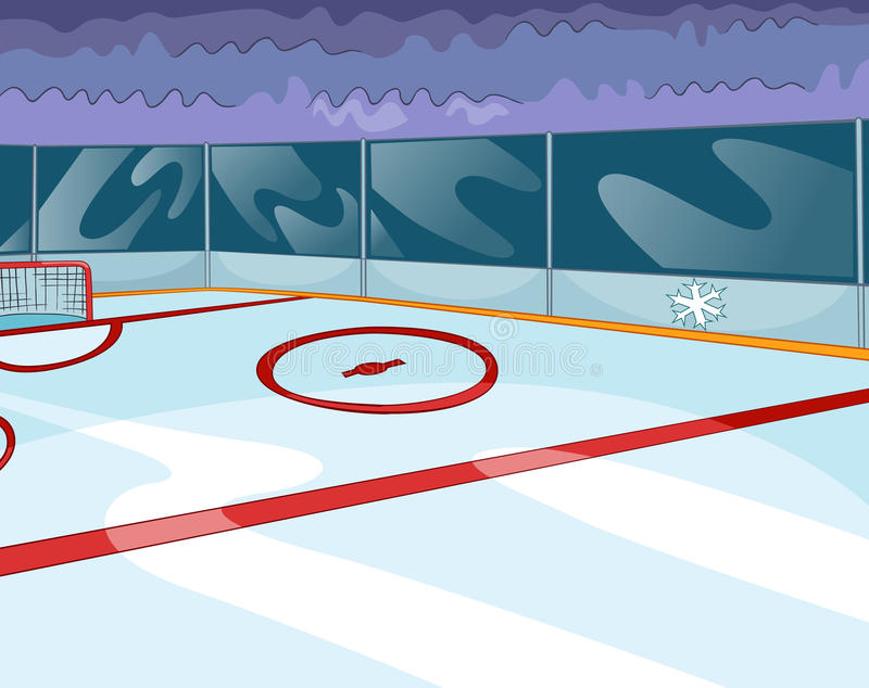 Tecknad filmbakgrund av ishockeyisbanan stock illustrationer