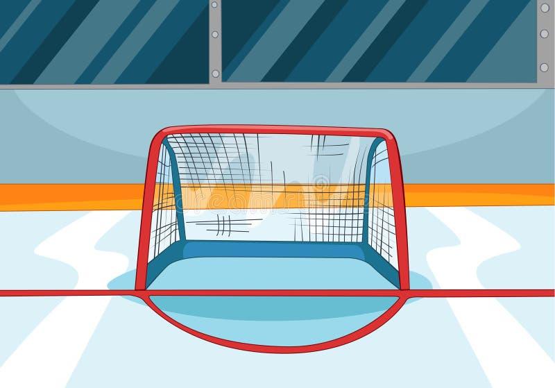 Tecknad filmbakgrund av ishockeyisbanan royaltyfri illustrationer