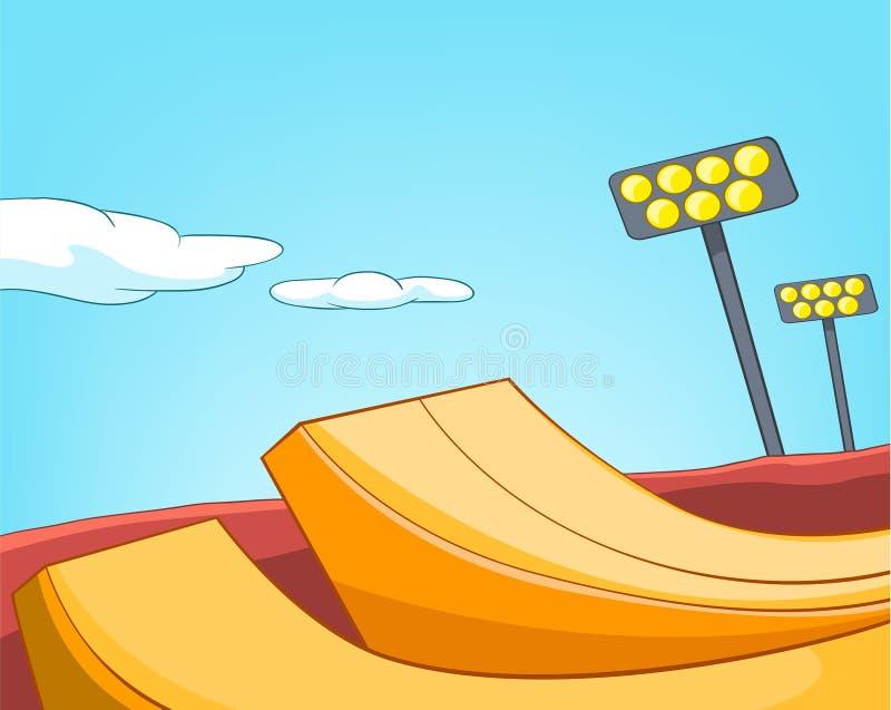 Tecknad filmbakgrund av skatepark royaltyfri illustrationer