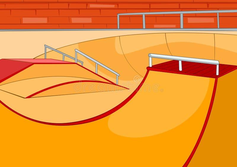 Tecknad filmbakgrund av skatepark stock illustrationer