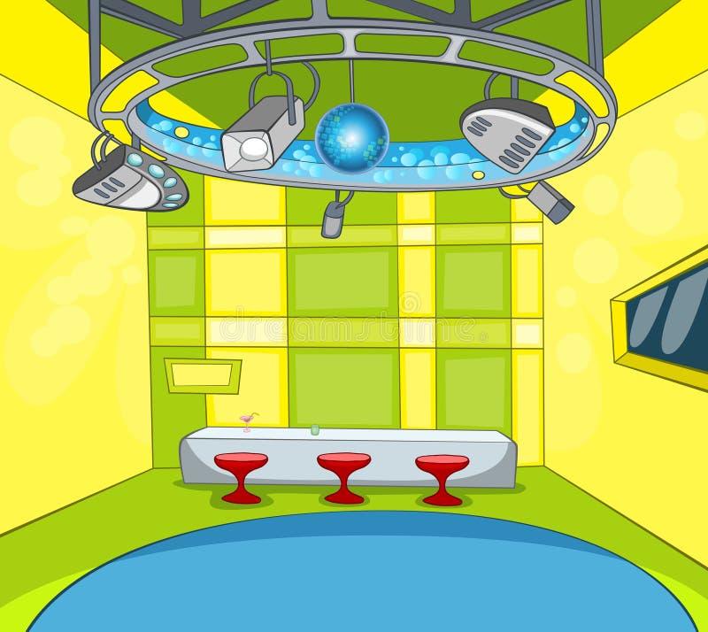 Tecknad filmbakgrund av tvstudioinre vektor illustrationer