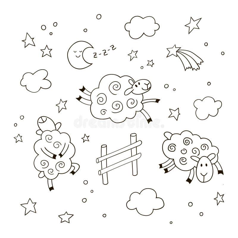 Tecknad filmbakgrund för bra natt för ungar Får för utdraget klotter för hand som gulliga hoppar över staketet i natthimlen stock illustrationer
