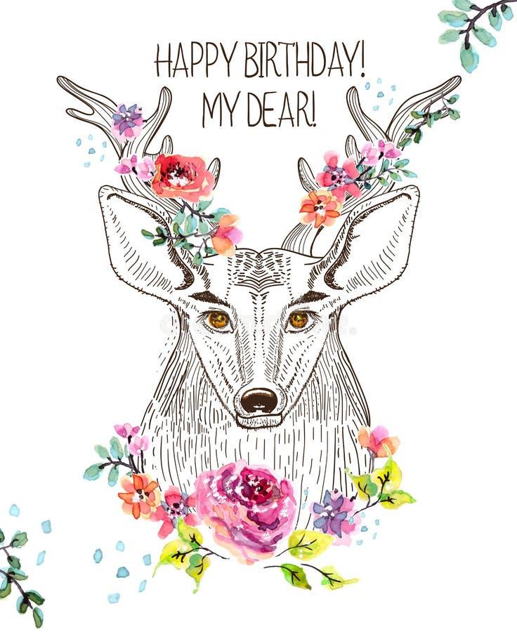 Tecknad filmbakgrund med hjortar och vattenfärgblommor vektor illustrationer