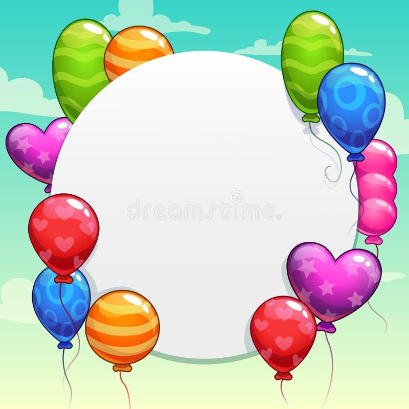 Tecknad filmbakgrund med ljusa färgrika ballonger stock illustrationer