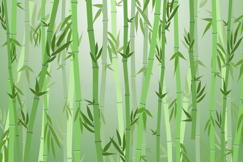 Tecknad filmbambu Forest Landscape Background vektor stock illustrationer
