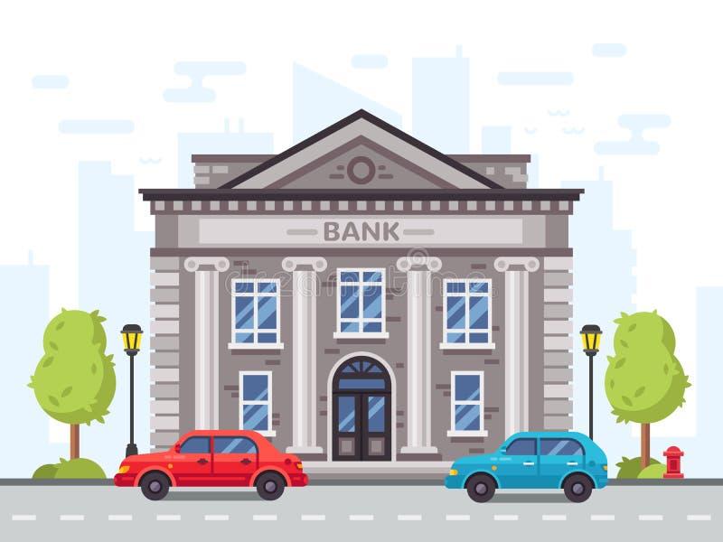 Tecknad filmbank- eller regeringbyggnad med roman kolonner Illustration för vektor för pengarlånhus vektor illustrationer