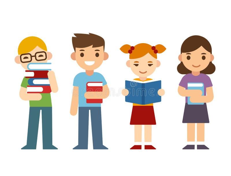 Tecknad filmbarn med böcker royaltyfri illustrationer