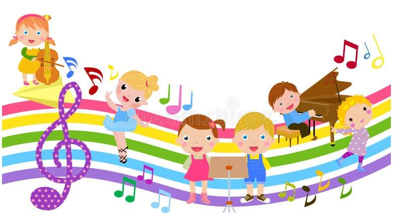 Tecknad filmbarn och musik stock illustrationer