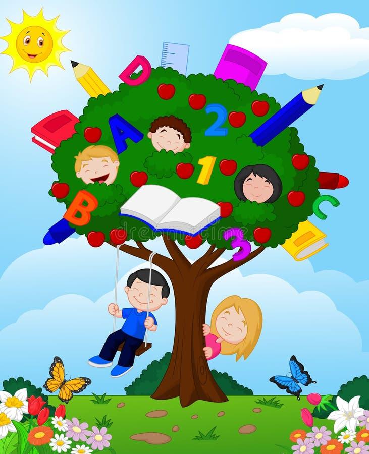 Tecknad filmbarn som spelar illustrationen i ett äppleträd stock illustrationer