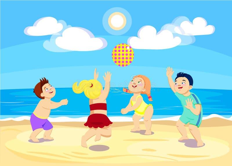 Tecknad filmbarn som spelar volleyboll på stranden royaltyfri illustrationer
