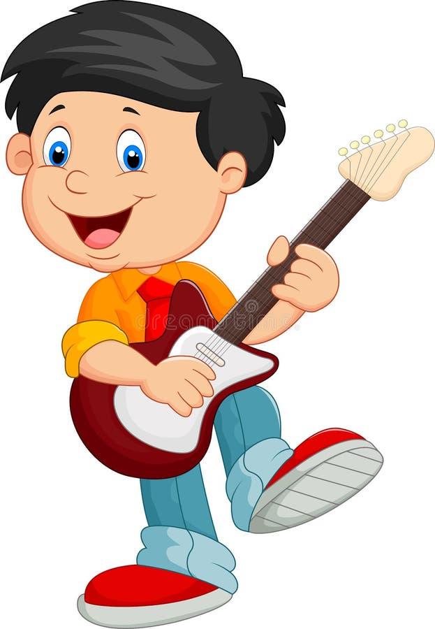 Tecknad filmbarnlek en gitarr stock illustrationer