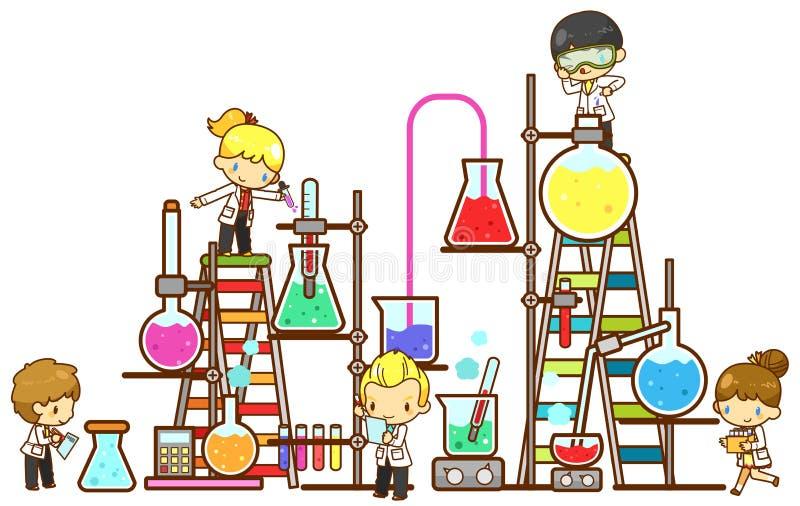 Tecknad filmbarnstudenten studerar kemi som arbetar vektor illustrationer