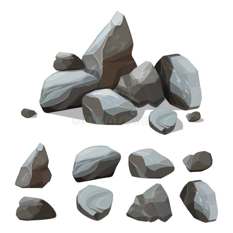 Tecknad filmbergstenar Stenig stor vägg från sats för gravels- och stenblockvektorskapelse med olika kulöra delar av royaltyfri illustrationer