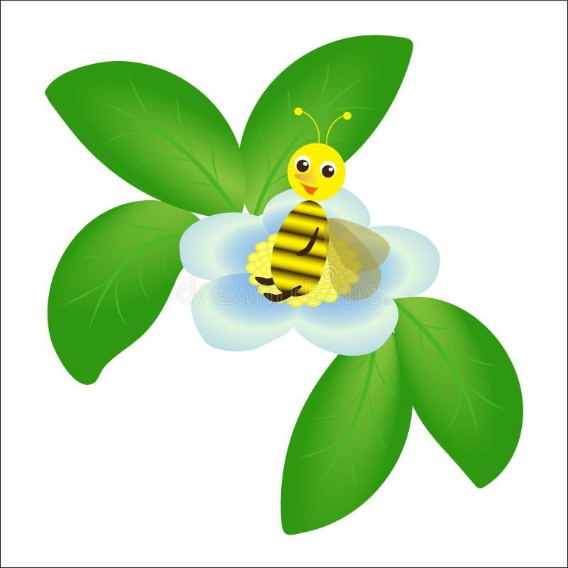 Tecknad filmbi och blå blomma med sidor på vit bakgrund stock illustrationer