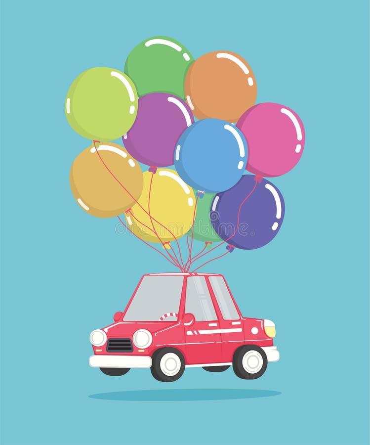 Tecknad filmbil med gruppen av ballonger royaltyfri illustrationer