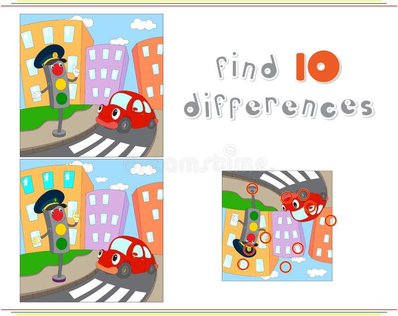 Tecknad filmbil och trafikljus Bildande lek för ungar: fynd royaltyfri illustrationer