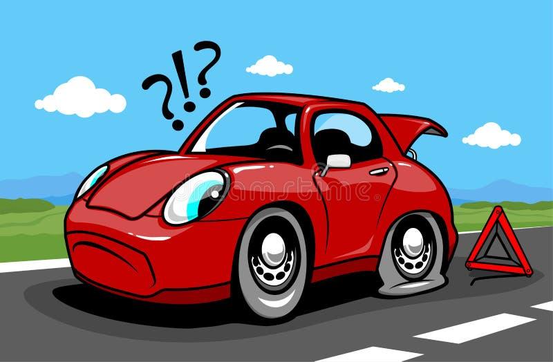 Tecknad filmbil på vägen med ett plant gummihjul royaltyfri illustrationer