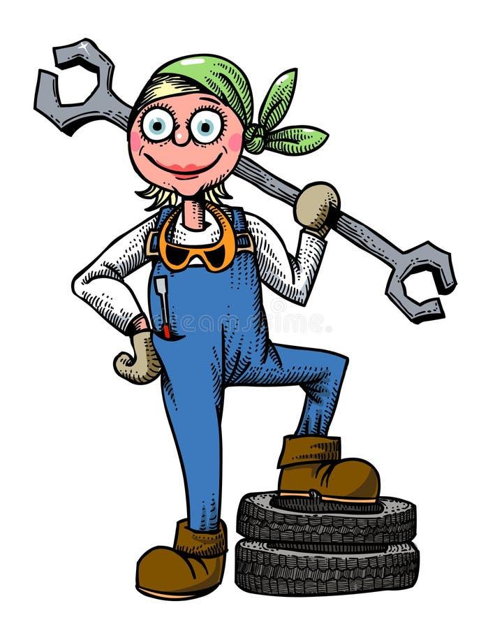 Tecknad filmbild av den kvinnliga mekanikern stock illustrationer