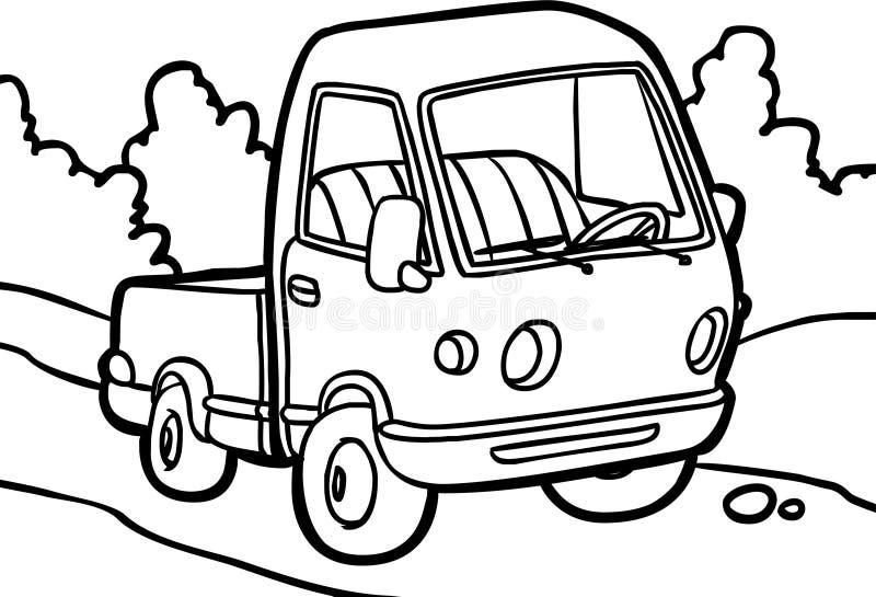 Tecknad filmbild av en liten lastbil royaltyfri illustrationer