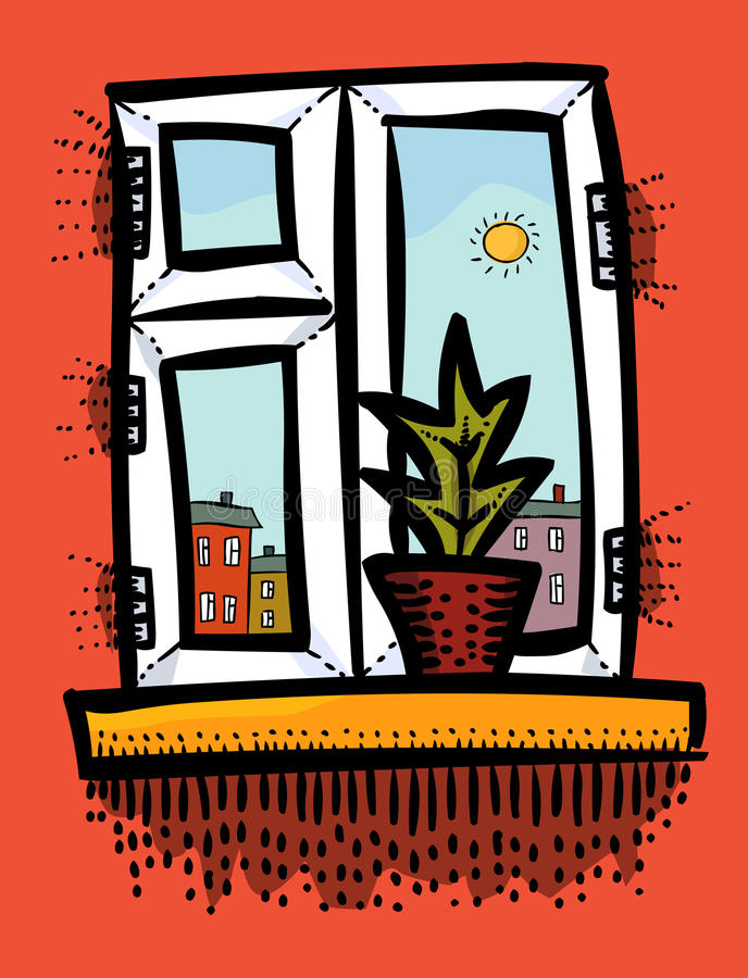 Tecknad filmbild av fönstersymbolen Fönstersymboluppsättning stock illustrationer
