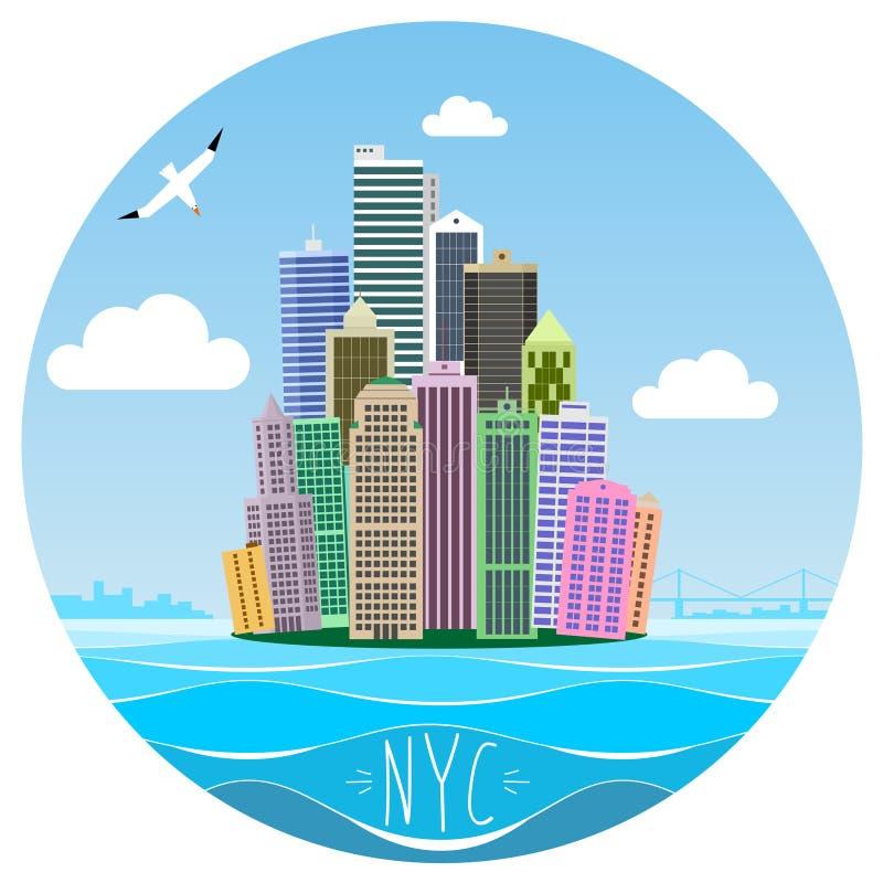Tecknad filmbild av Manhattan royaltyfri illustrationer