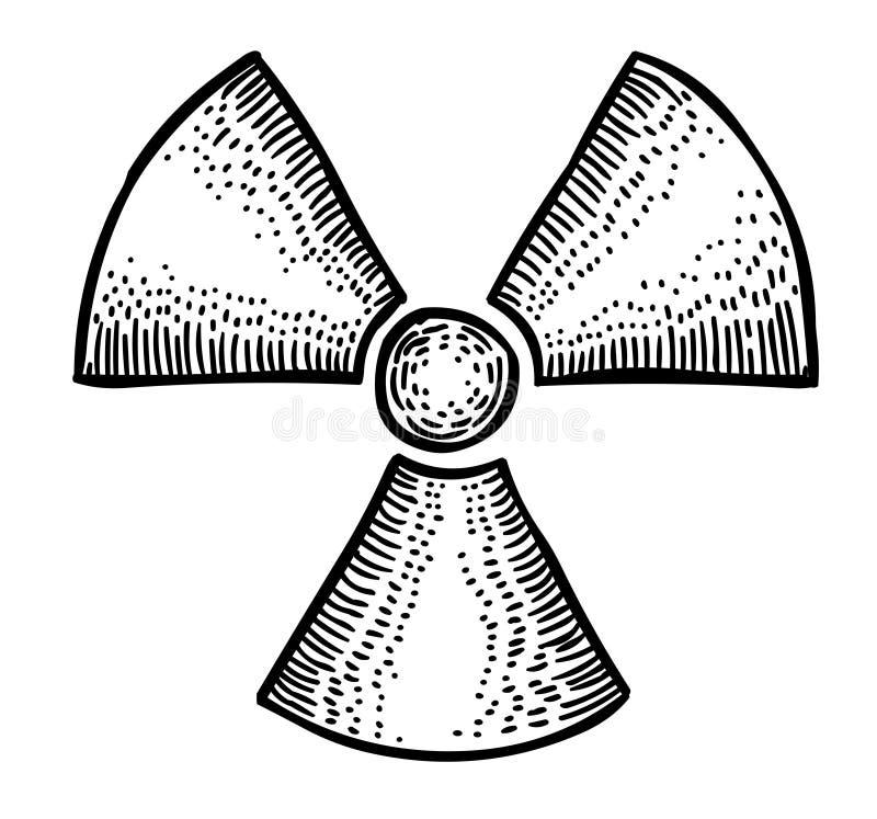 Tecknad filmbild av radioaktivsymbolen radioaktivt tecken utstrålning vektor illustrationer