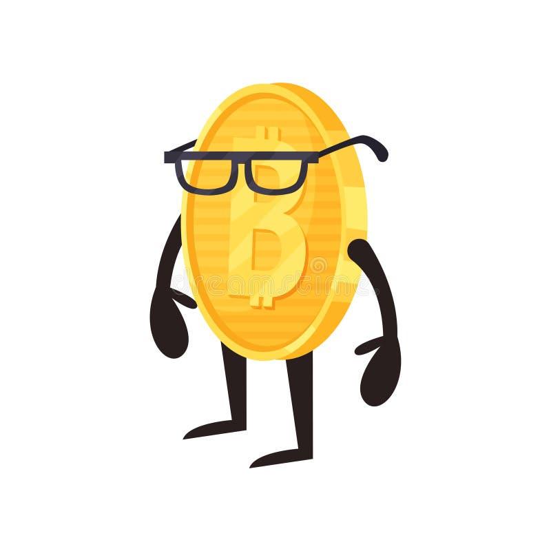 Tecknad filmbitcointecken i exponeringsglas Skinande guld- mynt med armar och ben Cryptocurrency eller digitalt tillgångbegrepp stock illustrationer