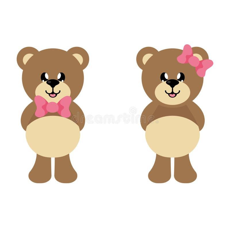 Tecknad filmbjörn med bandet med och björnflickauppsättningen royaltyfri illustrationer