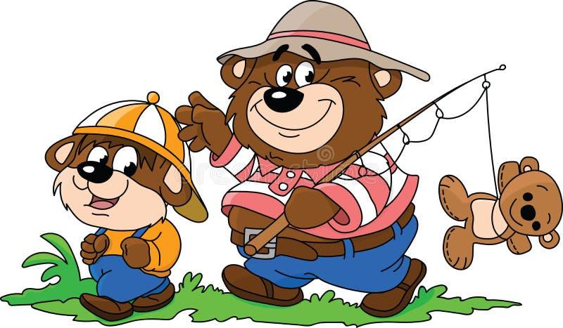 Tecknad filmbjörnar, fader och son som går till att fiska som tillsammans spenderar någon vektor för tid vektor illustrationer